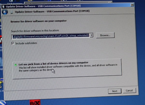 """Click on """"Let me pick from a list of device drivers on my computer"""""""